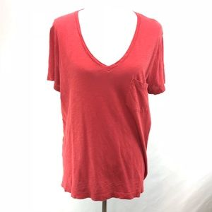 Madewell Rust Red Cotton V-neck T-shirt Size XL